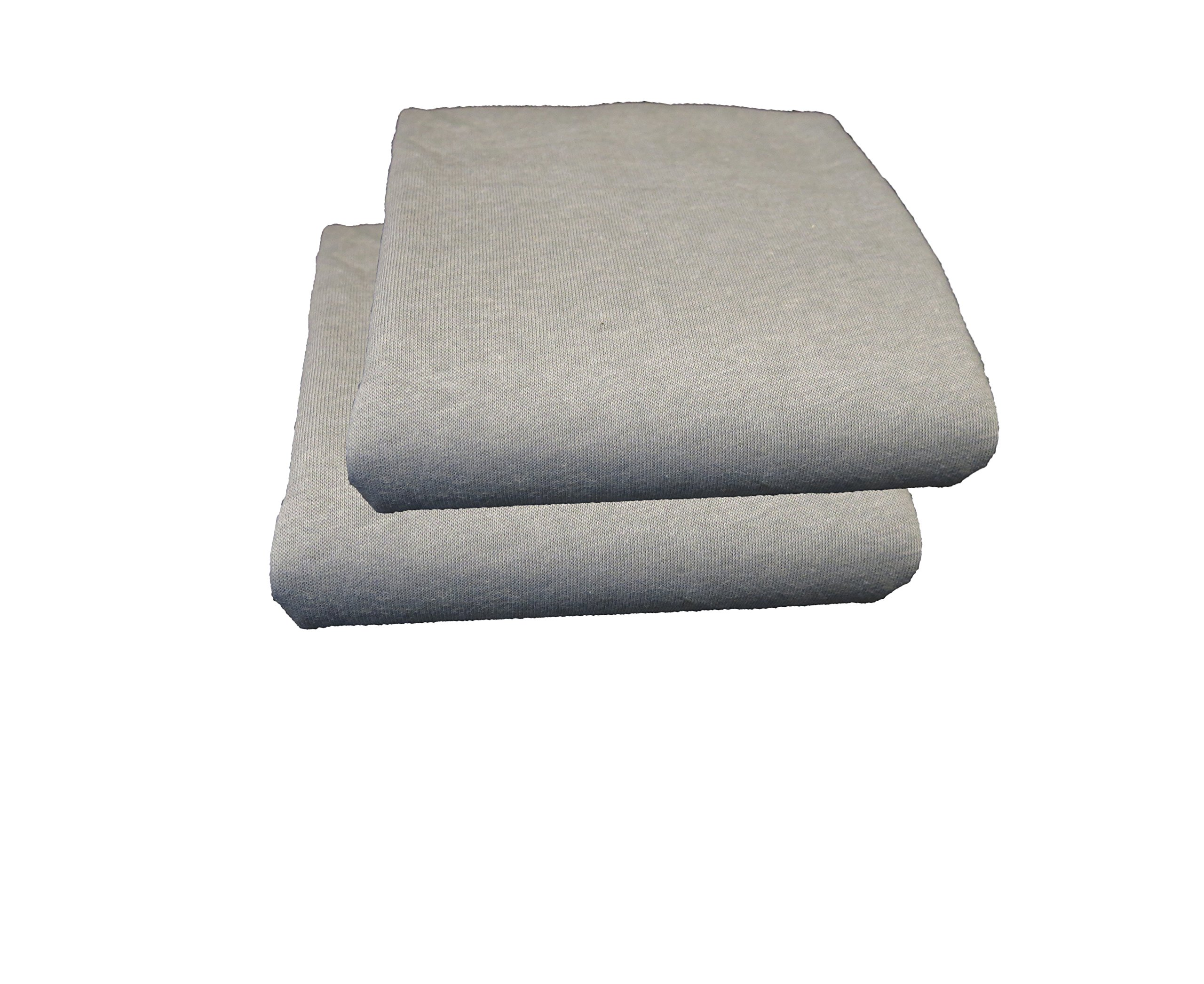 Fitted Mattress Bassinet Sheet Jersey Knit 30 x 16 - 2 Pack (Grey)