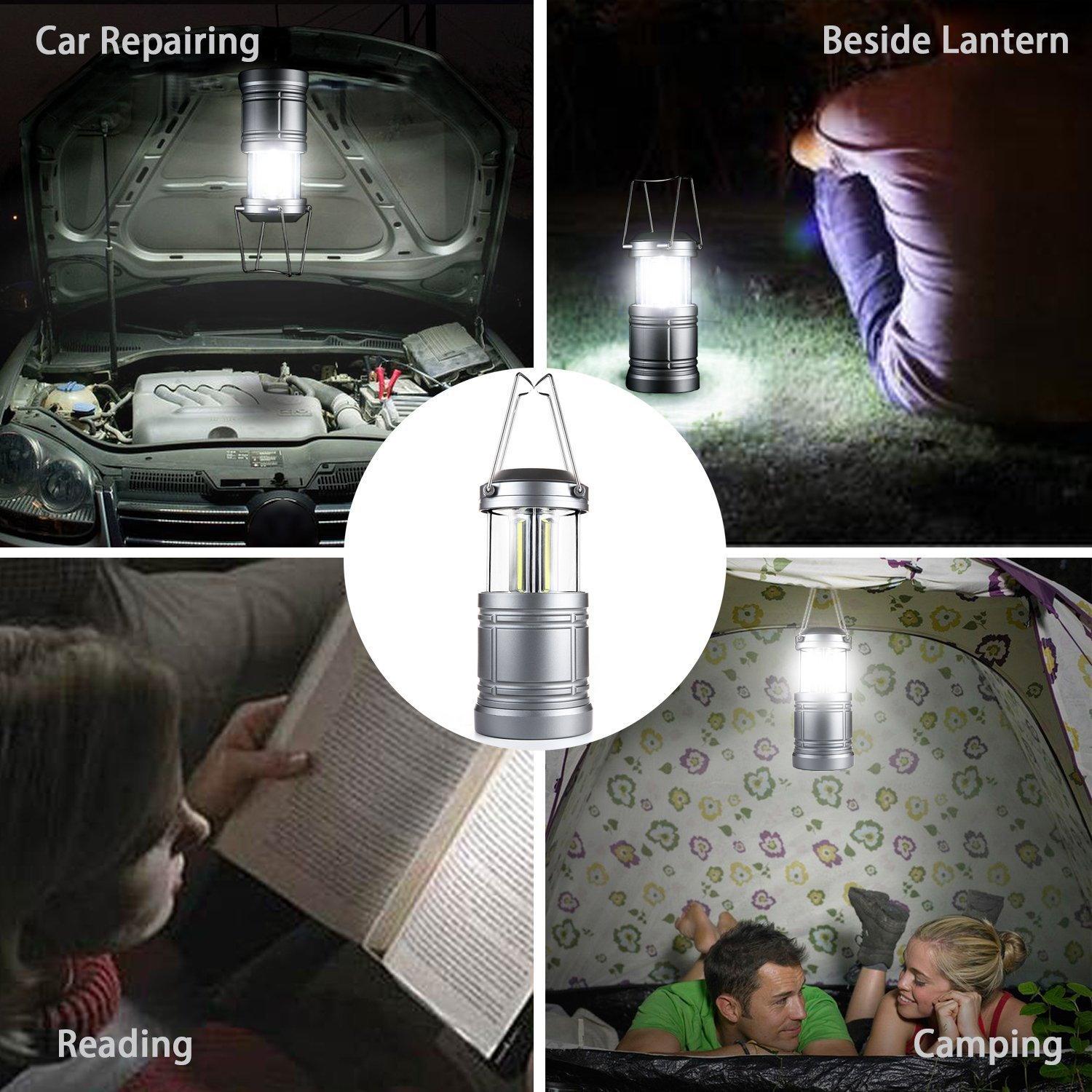 Hurricane LED Camping Lantern Lights with Magnetic Base Power Outage Lantern Battery Powered for Emergency COB LED Technology 500 Lumens Collapsible Camping Lights Outage Storms 4 Pack