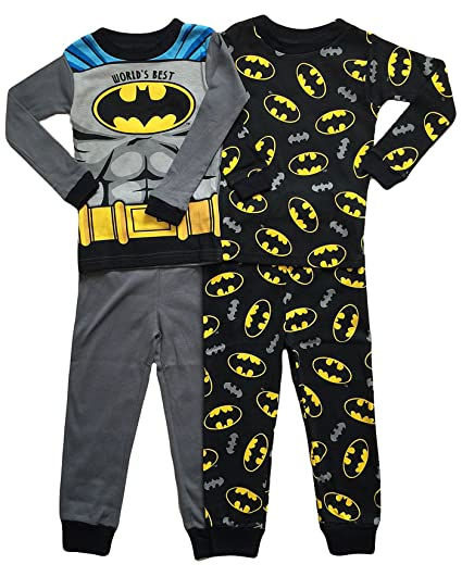 406f4654b52b Amazon.com  DC Comics Little Boys Toddler Batman 4 Pc Cotton Pajama ...