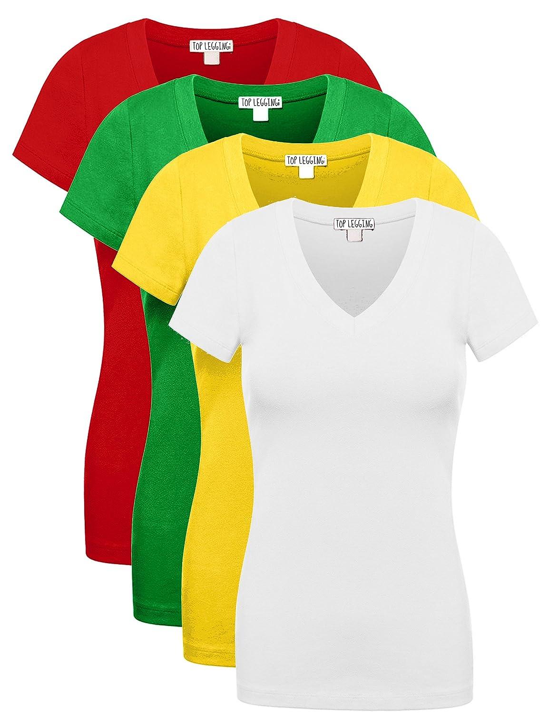 0e1fffd0d9ce TL Women's 4 or 6 Pack Comfy Basic Cotton Short Sleeves Solid V-Neck ...