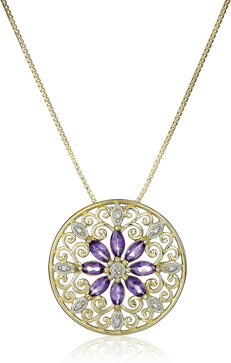 Solid Sterling Silver Rose Flower Pendant Necklace 1 inch Length with Three Gemstone Centerpieces