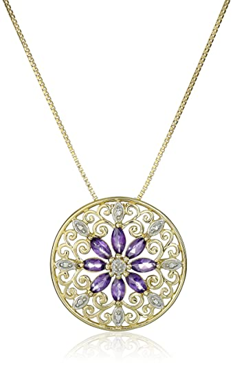 Amazon 18k yellow gold plated sterling silver genuine amethyst 18k yellow gold plated sterling silver genuine amethyst and diamond accent filigree mandala pendant necklace mozeypictures Gallery