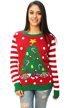 Ugly Christmas Sweater Arbre De Noël Femme Led Light Up Chandail