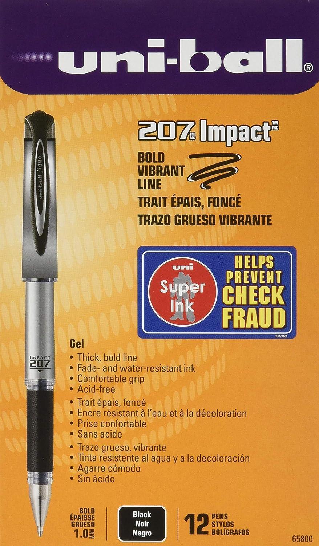Sanford Brands Uni-Ball 207 - Bolígrafo de gel de impacto (12 unidades), color negro: Amazon.es: Industria, empresas y ciencia
