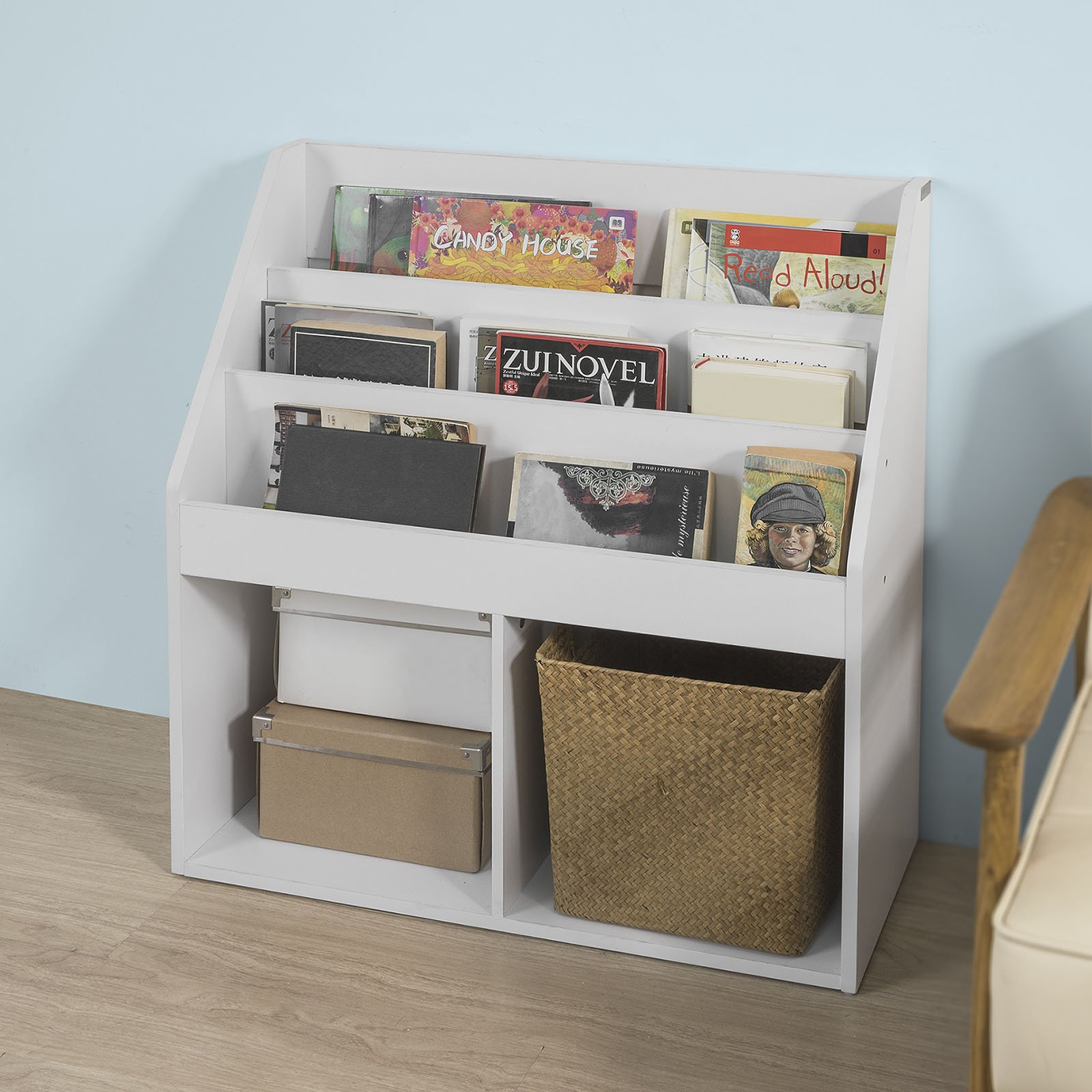 Haotian KMB01-W, White Children Kids Bookcase Book Shelf Storage Display Rack Organizer Holder by Haotian