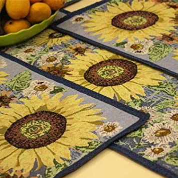 Queenie®   Set Of 1 Tapestry Table Runner And 4 Placemats (Sunflower)
