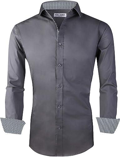 Alex Vando Mens Dress Shirts Regular Fit Long Sleeve Men Shirt at Amazon  Men's Clothing store