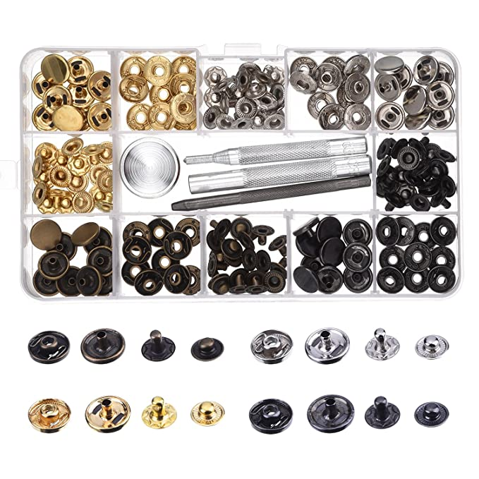 Botones de Presión de Cobre Corchetes de Presión de Ropa sin Coser 39 Set con Herramiento de Reparación para Tela, Manualidades de Cuero (12 mm): Amazon.es: ...