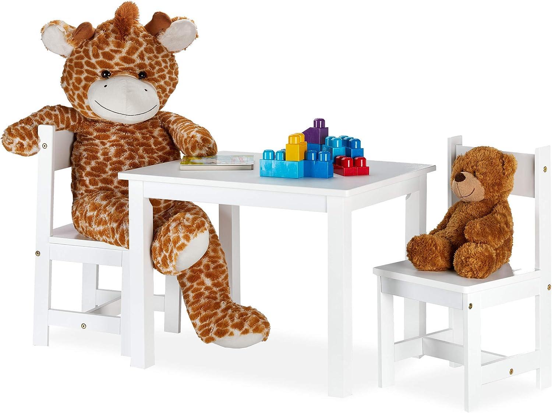 Interno Tavolo con 2 Sedioline per Bambini Cameretta Moderno Relaxdays Set Tavolino e Sedie in Legno MDF Pannelli 1 Bianco