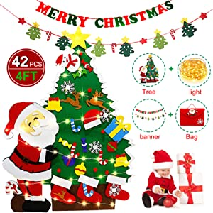 4Ft Felt Christmas Tree Set with String Light,42pcs Wall Hanging Detachable Ornaments Xmas Gifts Merry Christmas Felt Banner Wall Decor for Christmas New Year Hoom Door Decorations