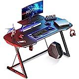 MOTPK 47 inch Gaming Desk Carbon Fiber Black Computer Desk, Gamer Workstation Home Office Desk with Monitor Stand Cup Holder