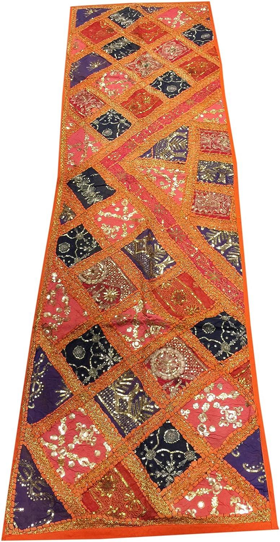 Mogul interior marroquí camino de mesa naranja Patchwork bordado ...