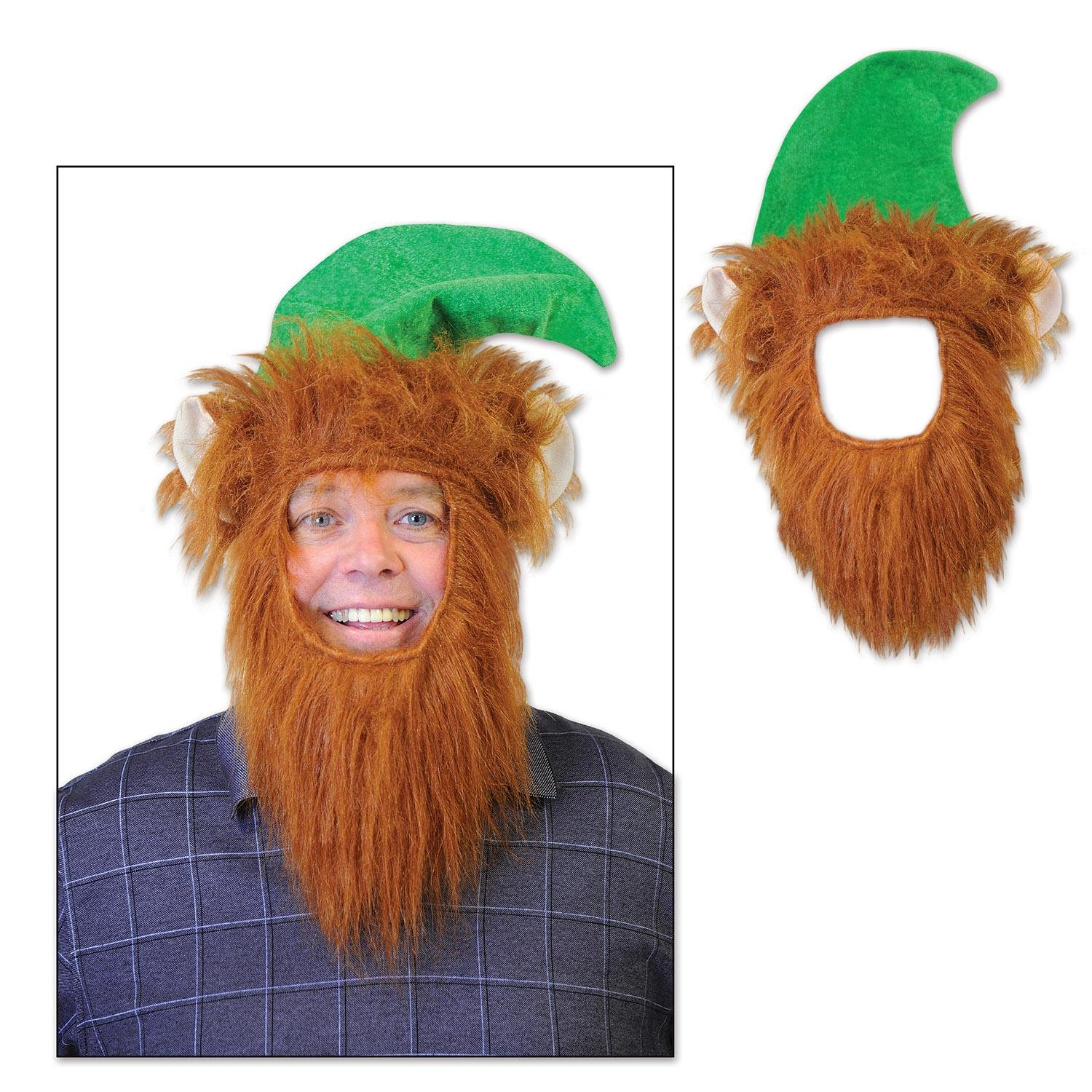 Party Central Pack of 12 Green Hats with Fuzzy Beard Christmas Elf Costume Accessories by Party Central