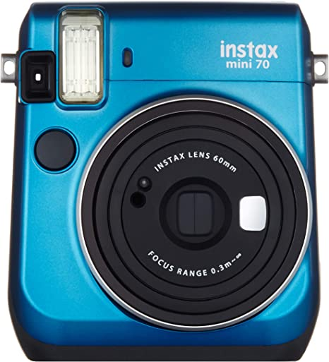 Instax Fujifilm Mini 70 - Cámara Analógica Instantánea (ISO 800, 0.37x, 60 mm, 1:12.7, Flash Automático, Modo Autorretrato, Exposición Automática, Temporizador, Modo Macro), Azul Caribe: Amazon.es: Electrónica