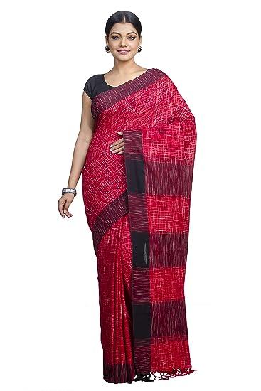 f9d83a82057194 tant ghar Women s Cotton Bengal Handloom Khadi Saree with Running Blouse  (KC-04J