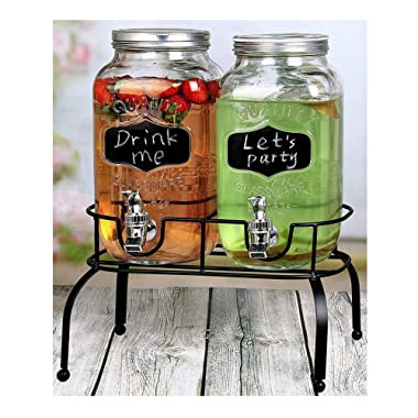 Estilo EST3095 Embo Glass Mason Jar Double Drink Dispenser with Leak Free Spigot On Metal Stand With Embossed Chalkboard and Chalk, Clear, 1 Gallon,