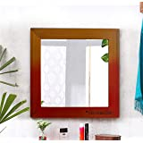 TIED RIBBONS Decorative Wall Mirror for Living Room, Decoration Bedroom Bathroom (37.5 cm x 37.5 cm, Wood Framed)