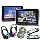 XTRONS Pair 2x10.1 Inch Car Auto Headrest HDMI Slim DVD Player Silver Frame Portable Monitor IR/FM Game Children IR Headphones Included (Blue & Pink)