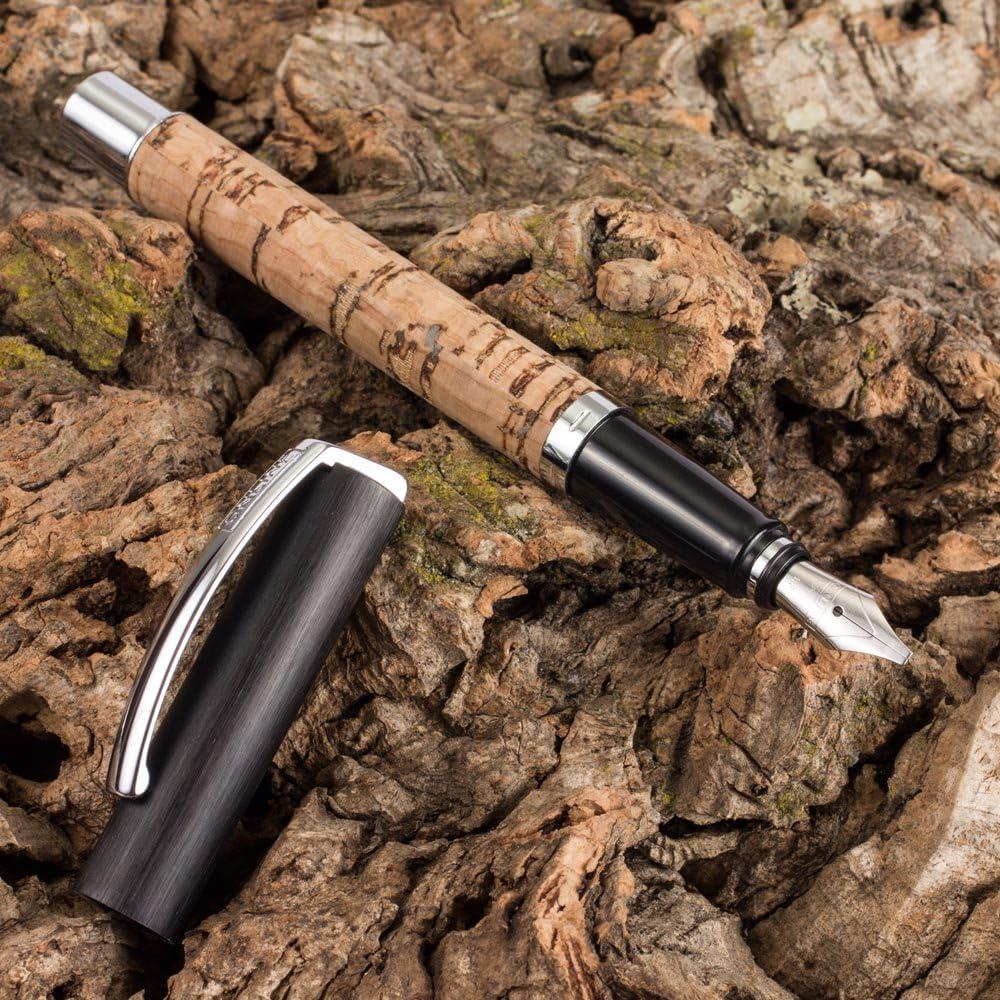 F/üllfederhalter aus Aluminium mit Holzveredelung ONLINE F/üller Vision African Maroon in Geschenkverpackung Iridiumfeder M f/ür Standard-Tintenpatronen und Konverter geeignet
