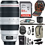 "Canon EF 100-400mm f/4.5-5.6L IS II USM Lens + Sandisk 64GB + Ritz Gear USB Reader/Writer + 72"" Monopod + Polaroid Optics 77mm 4 Piece Filter Set Kit + Polaroid Accessory Bundle"