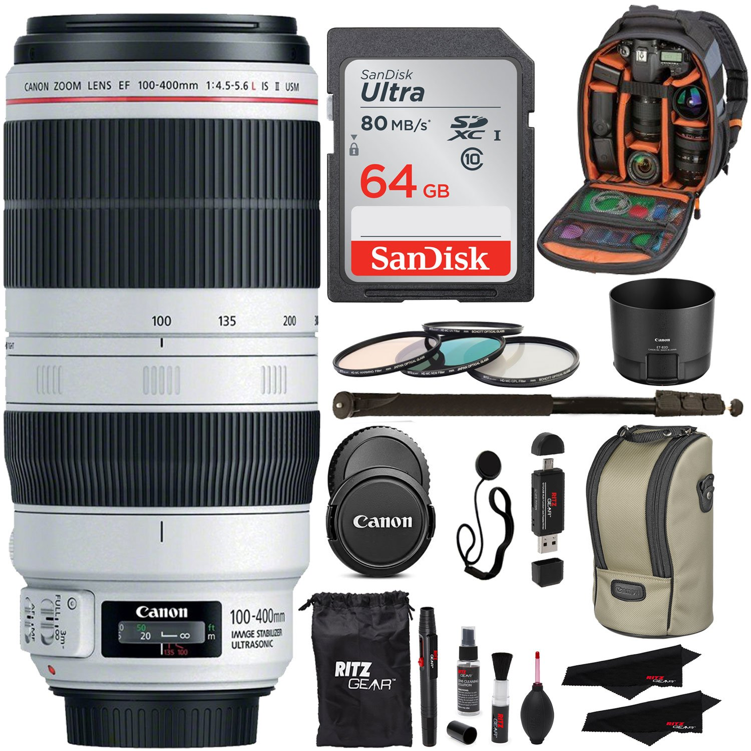 Canon EF 100-400mm f/4.5-5.6L IS II USM Lens + Sandisk 64GB + Ritz Gear USB Reader / Writer + 72'' Monopod + Polaroid Optics 77mm 4 Piece Filter Set Kit + Polaroid Accessory Bundle