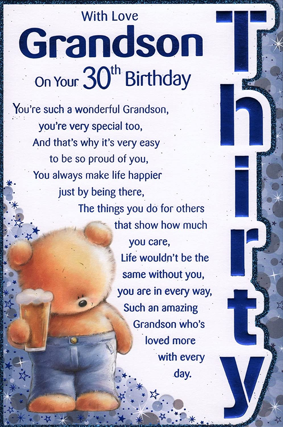 Grandsons 30th birthday card with love grandson on your 30th grandsons 30th birthday card with love grandson on your 30th birthday great quality card amazon office products kristyandbryce Choice Image