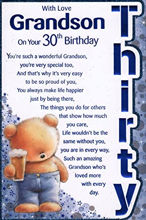 Grandsons 30th Birthday Card With Love Grandson On Your 30th