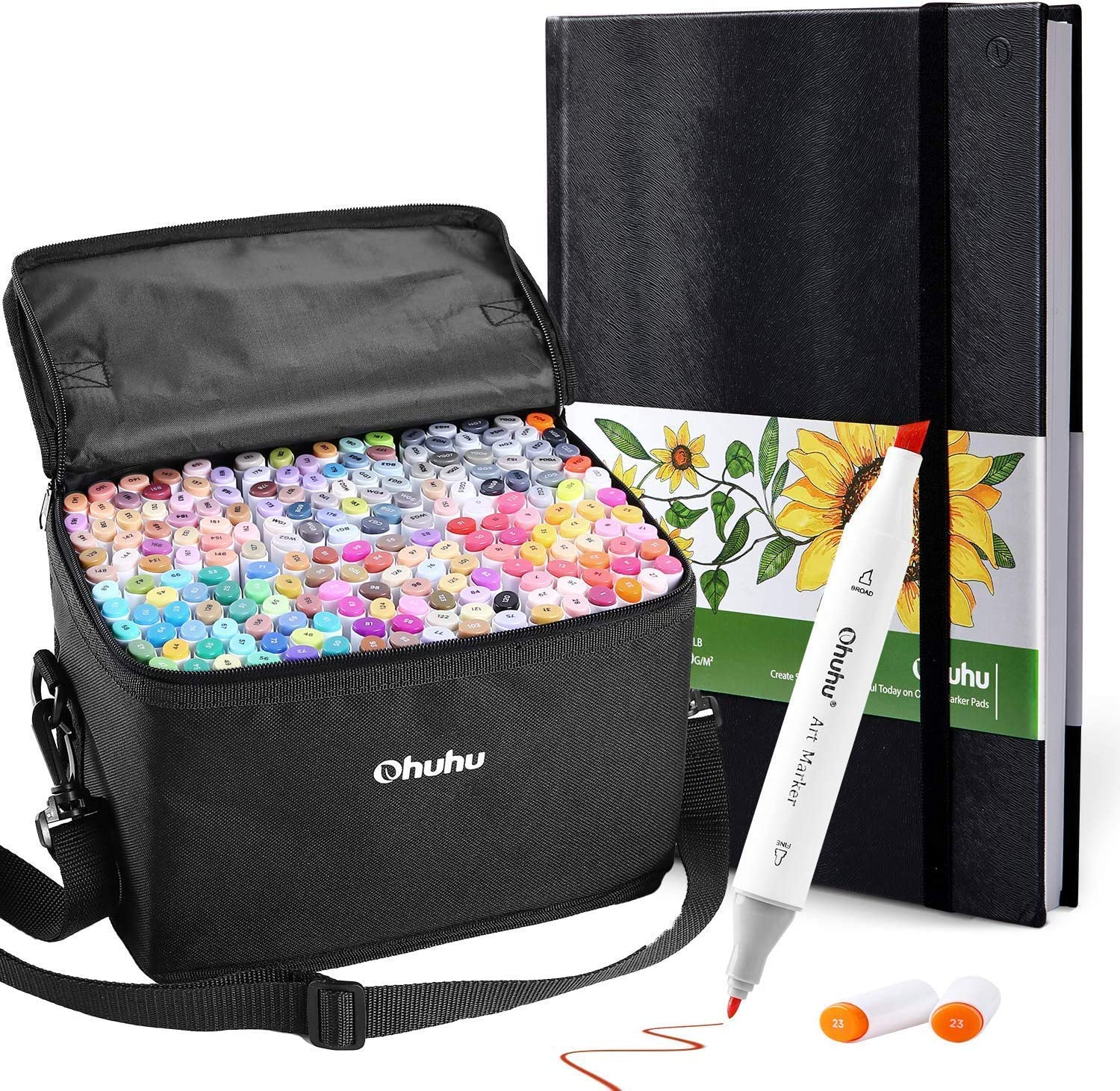 """Ohuhu 200 Colors Alcohol Art Markers (Fine & Chisel, Bonus 1 Colorless Blender) +11.7"""" ×8.3"""" Marker Pads Art Sketchbook, 120LB/200GSM Heavy Smooth Drawing Papers, 78 Sheets/156 Pages"""