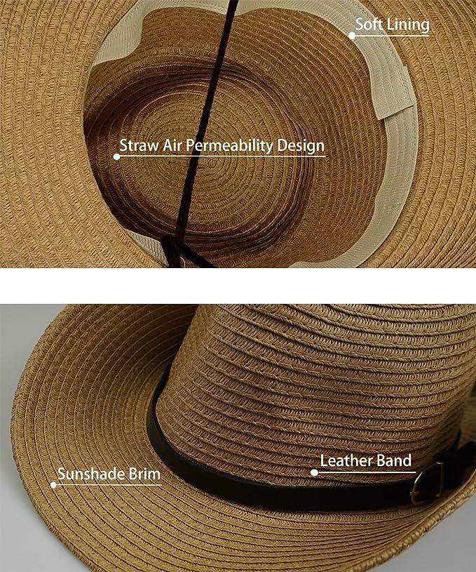 529ca54ae62 Men s Straw Sun Beach Hat - Wide Brim Foldable Floppy Travel Hats Panama  Straw Hat at Amazon Women s Clothing store