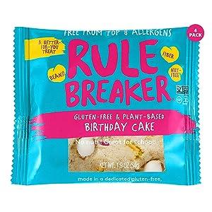 Rule Breaker Snacks Vegan Cookies | Gluten Free, Nut Free and Great for School, Allergen Free, Kosher, Plant Based, Chickpea Based Blondie Brownies | As Seen on Shark Tank | Individually Wrapped 1.9oz Cookies, Birthday Cake (4 Pack)