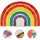 Bathroom Rugs, Jhua Half Round Area Rug Rainbow Indoor Floor Mat, Non Slip Half Circle Rug Fluffy Carpet, Soft Fuzzy Shaggy T