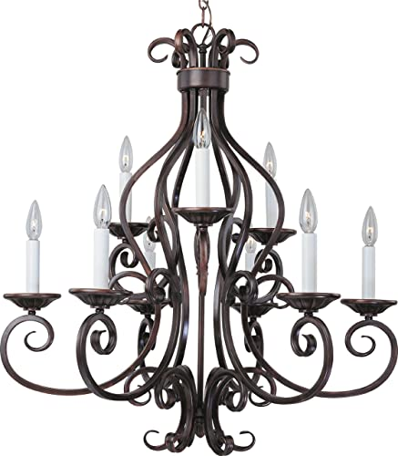 Maxim 12216OI Manor Candle Chandelier, 9-Light 540 Watts, 32 H x 29 W, Oil Rubbed Bronze