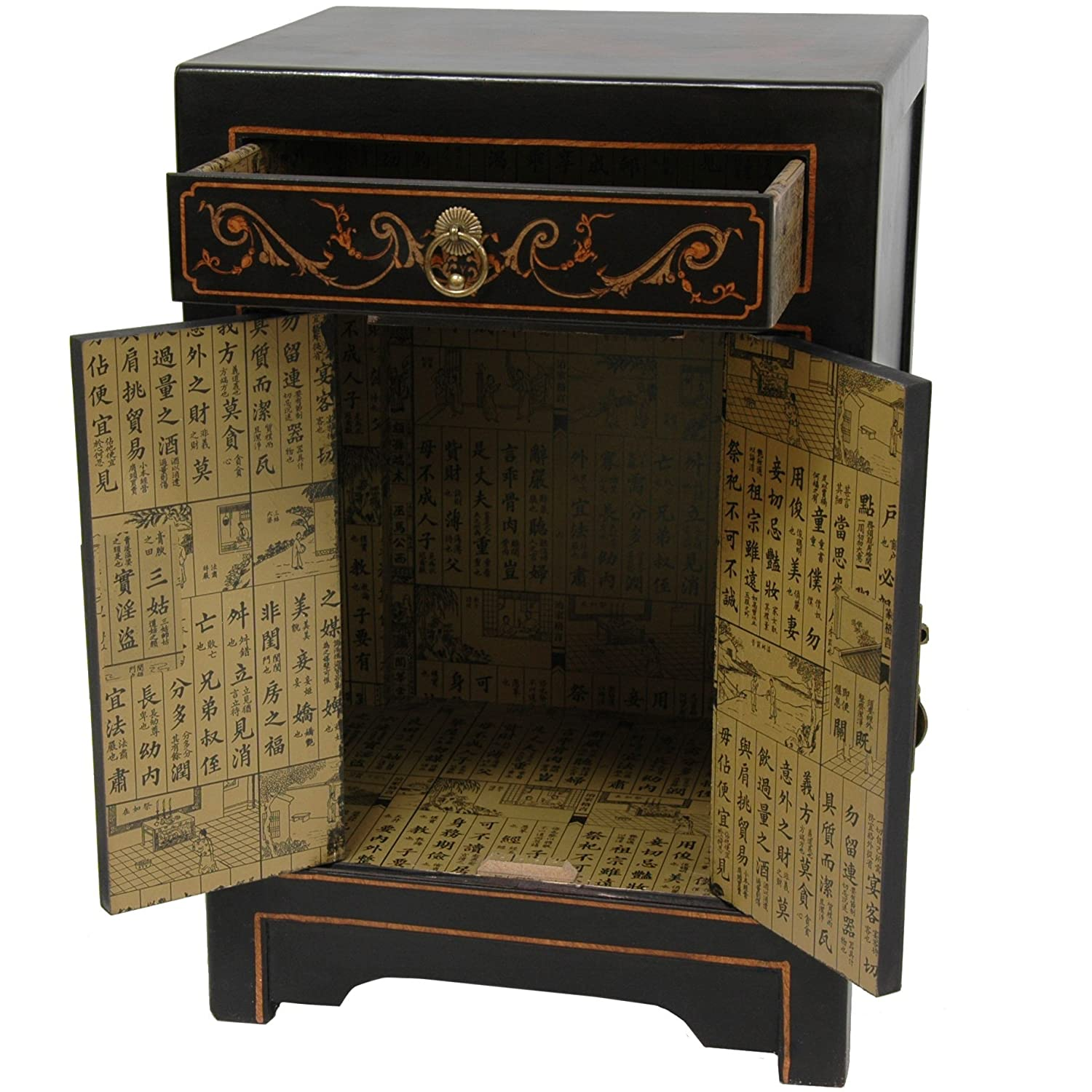 Amazon.com: Oriental Furniture Black Lacquer End Table Cabinet: Kitchen U0026  Dining