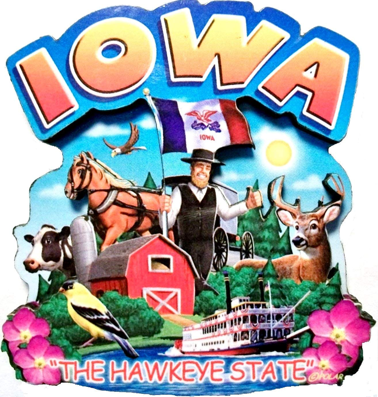 Iowa State Montage Wood Fridge Magnet 2