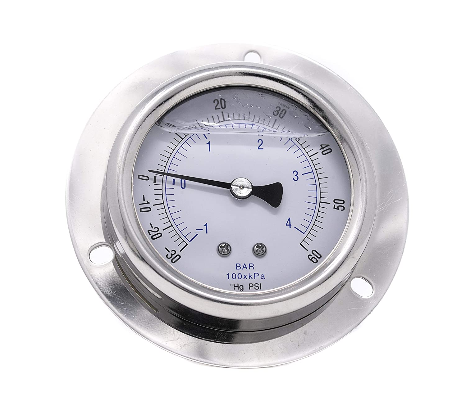 PIC Gauge 214L-254M 2.5 Dial 1//4 Male NPT Connection Size Removable Stainless Steel Bezel Brass Internals Front Flanged Panel Mount Glycerine Filled Pressure Gauge with a Stainless Steel Case 0//1000 psi Range and Glass Lens