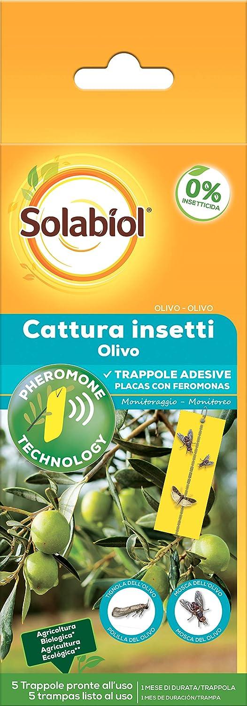 Solabiol Insecticida para plagas de Olivo, feromonas, 5 Placas, Amarillo, 75 Gr