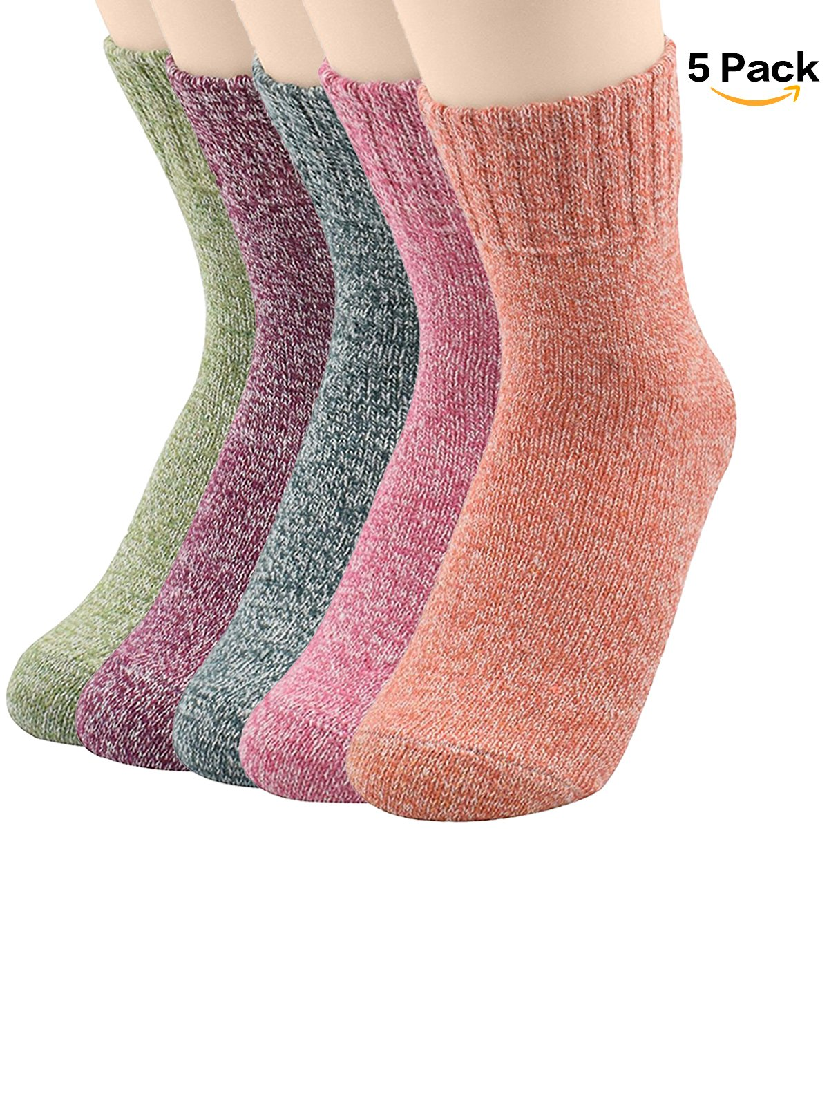 Zando Womens Pack of 3-5 Mixed Color Thin Knit Animal Printed Casual Wool Crew Socks for Fall Winter 5 Pack - Solid Shoe Size 6-11