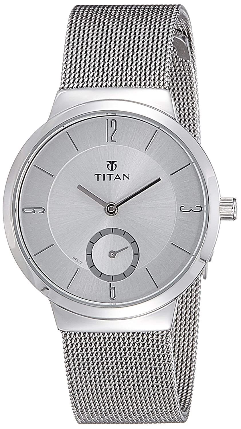 Titan Women s Contemporary Chronograph Multi Function Work Wear,Gold Silver Metal Leather Strap, Mineral Crystal, Quartz, Analog, Water Resistant Wrist Watch