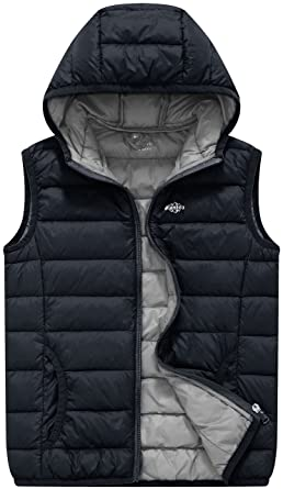 e44165bb6b64c Wantdo Boy s Light Weight Puffer Down Vest Winter Coats Hoodie  Bodywarmer(Dark Grey