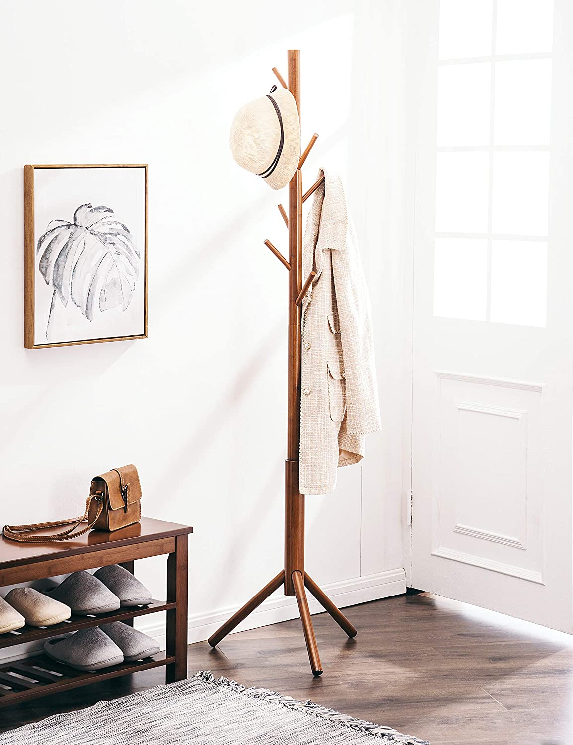 Adjustable Coat Tree with 3 Sections /& 8 Hooks Entryway Bedroom Easy to Assemble Coat Hanger Stand for Bedroom Office Brown Hallway FILWH Bamboo Free Standing Coat Rack Stand