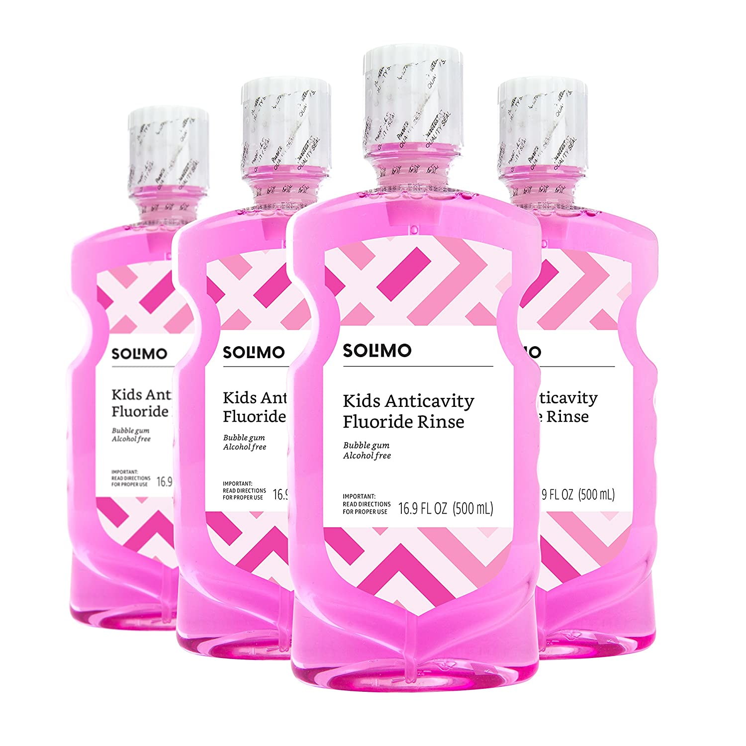 Amazon Brand - Solimo Kids Anticavity Fluoride Rinse, Alcohol Free, Bubble Gum, 500 mL (Pack of 4)