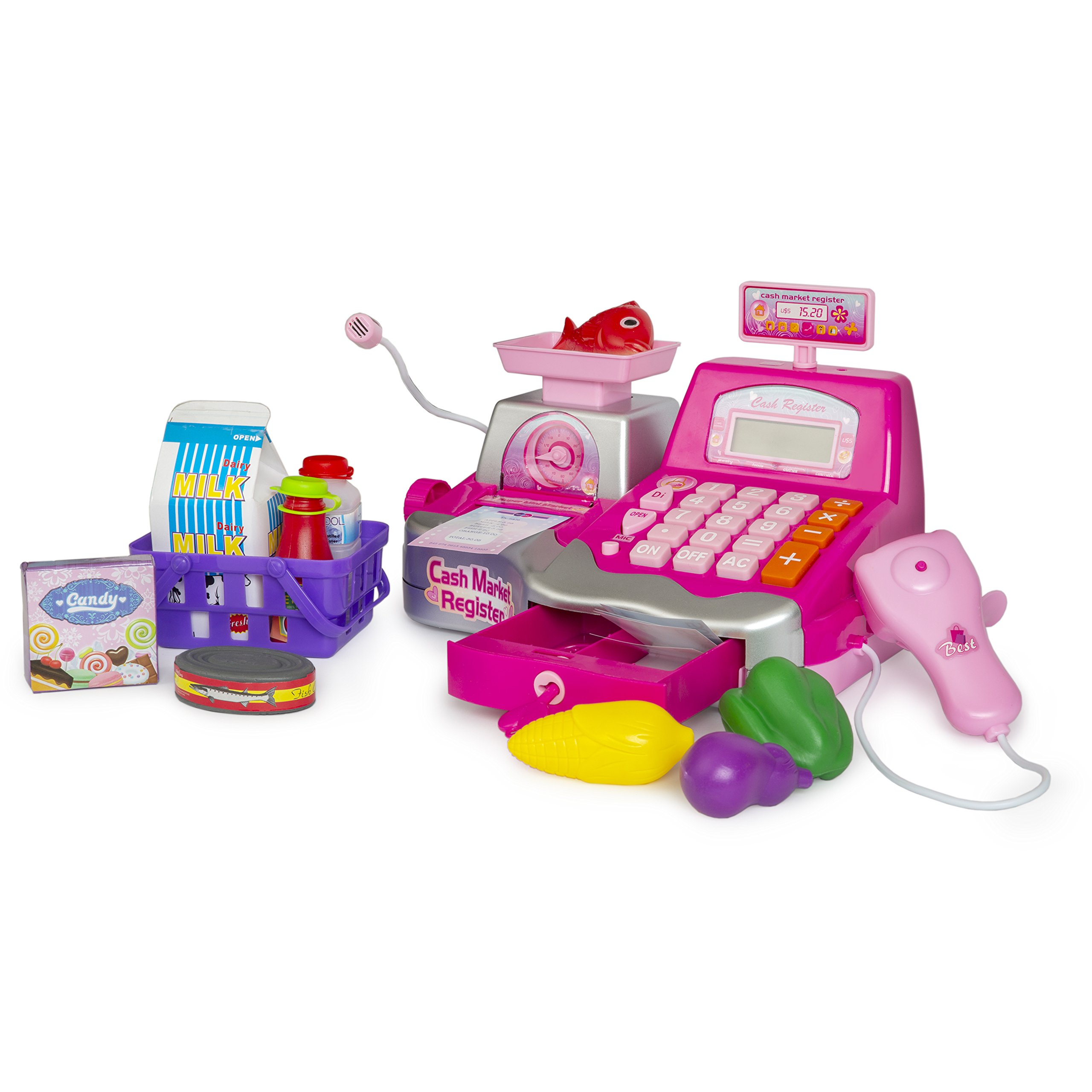 Pretend Play Cash Register 23 pieces with Money, Food, Microphone, Scanner, Calculator for Kids to Understand, Learn the Value of Money and Build Entrepreneurial skills