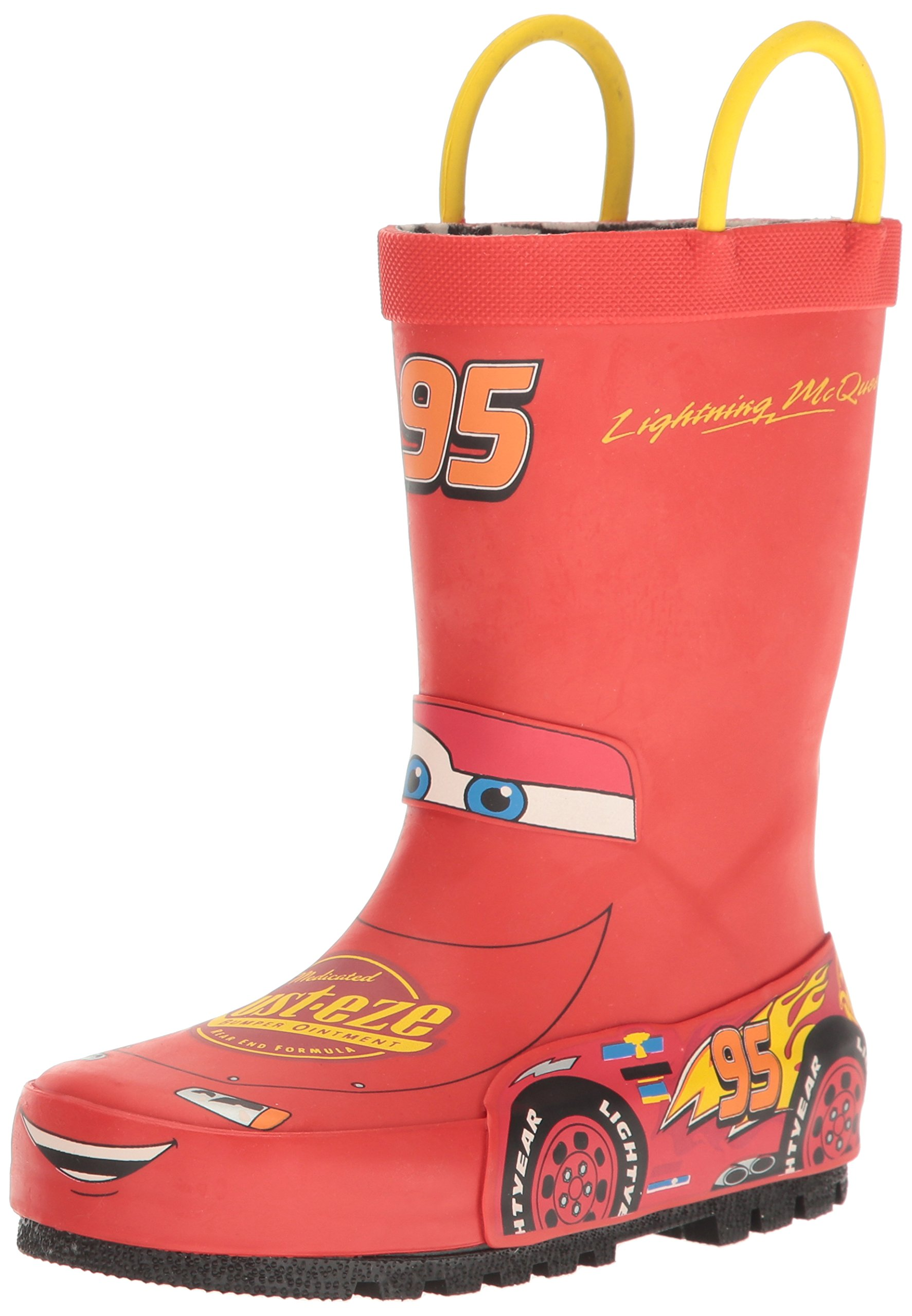 Western Chief Kids Waterproof Disney Character Rain Boots with Easy on Handles, Lightning McQueen, 11 M US Little Kid