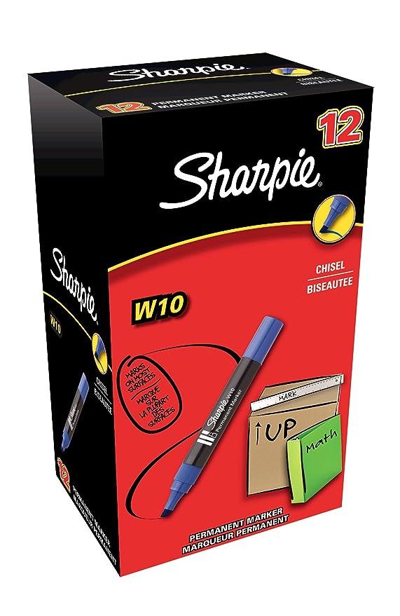 15 opinioni per Sharpie W10 Pennarelli indelebili con punta a scalpello, blu, Scatola da 12