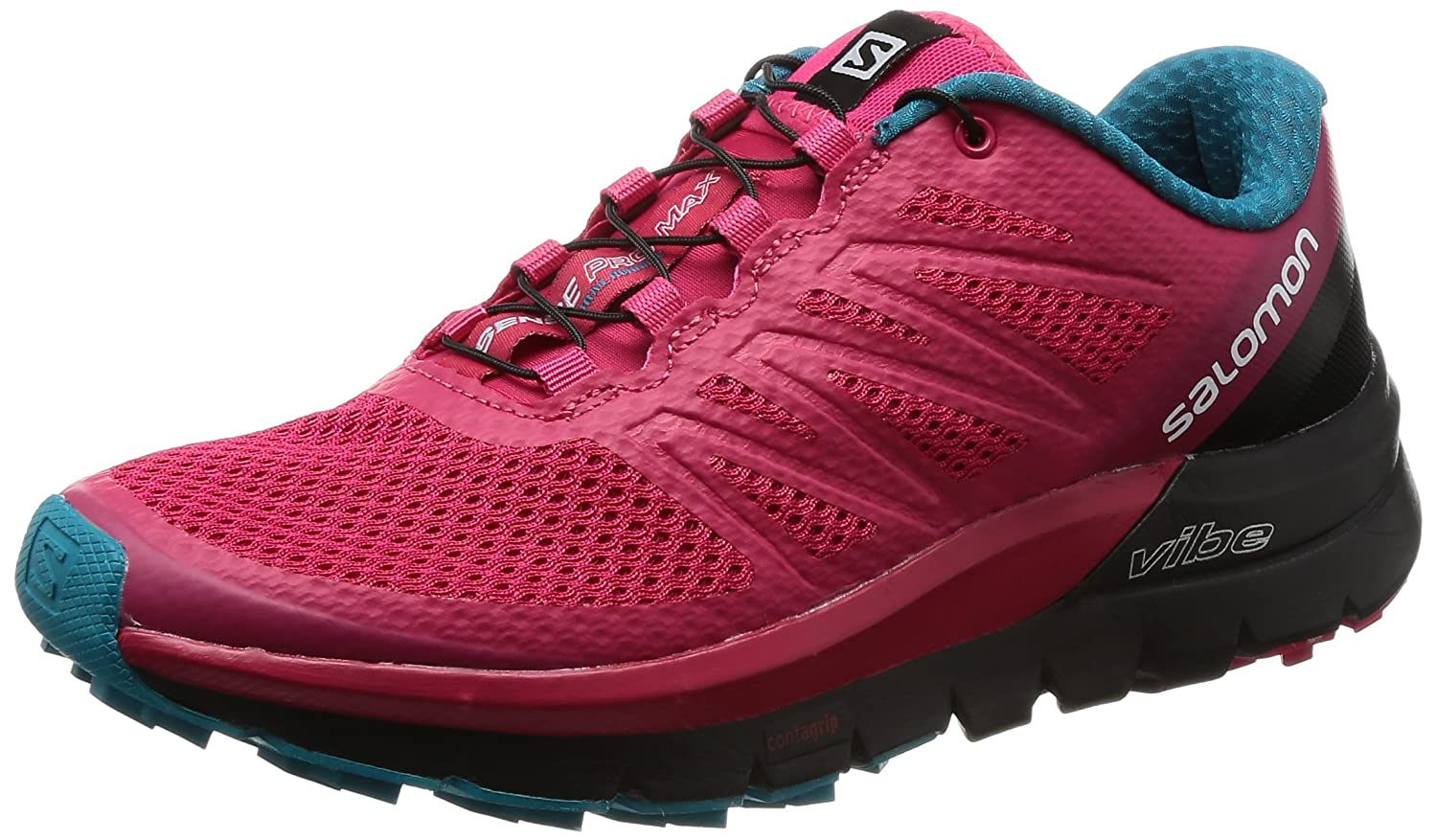 Salomon Women's Sense Pro Max Manmade, Mesh Trail Running Sneakers B01N78XE8R 5 B(M) US|Virtual Pink, Black, Enamel Blue