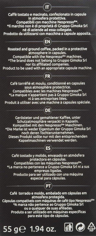 Gimoka COMPATIBLES con Nespresso 50 Cápsulas Gusto Deciso, intenso, cremoso, vellulato, Dulcet Dek: Amazon.es: Hogar