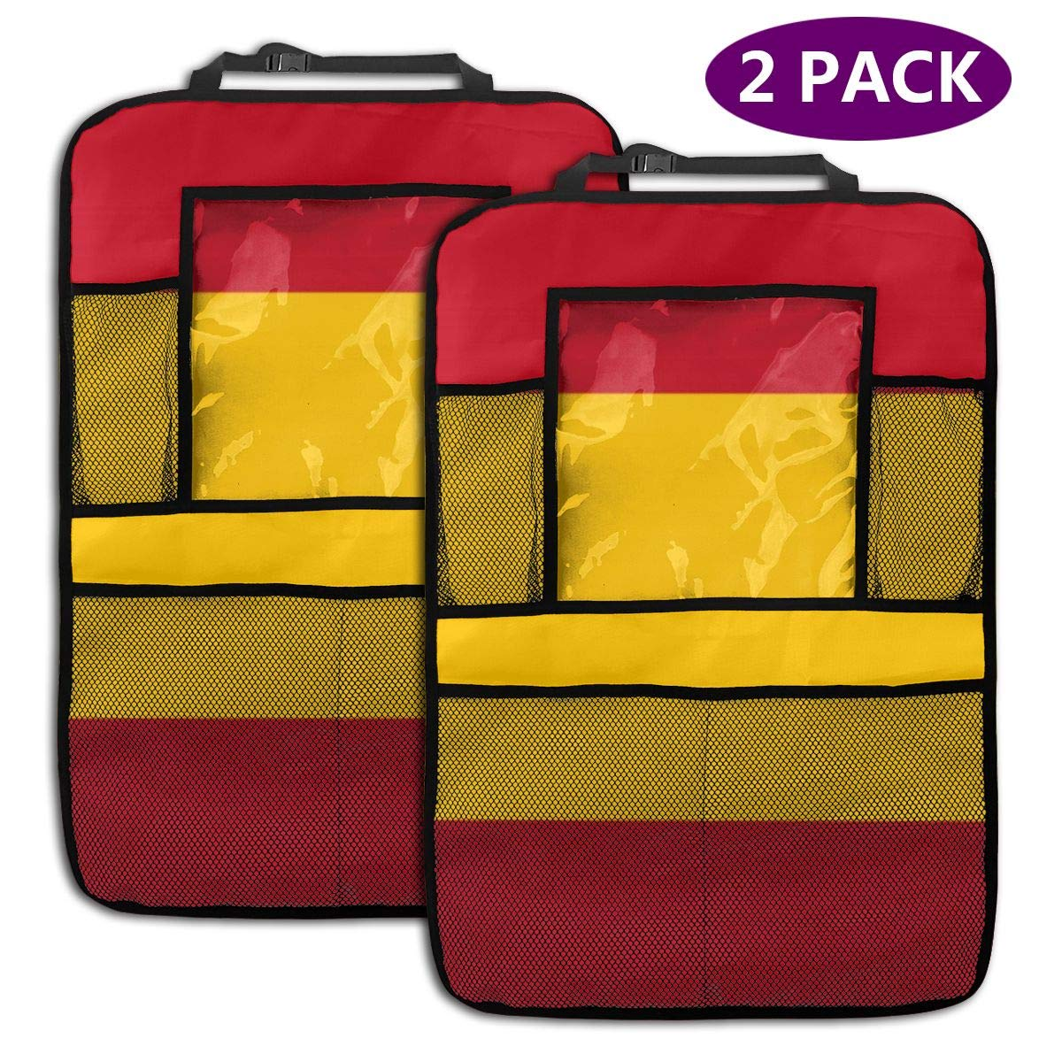 QF6FEICHAN Spanish Flag Car Seat Back Protectors with Storage Pockets Kick Mats Accessories for Kids and Toddlers by QF6FEICHAN