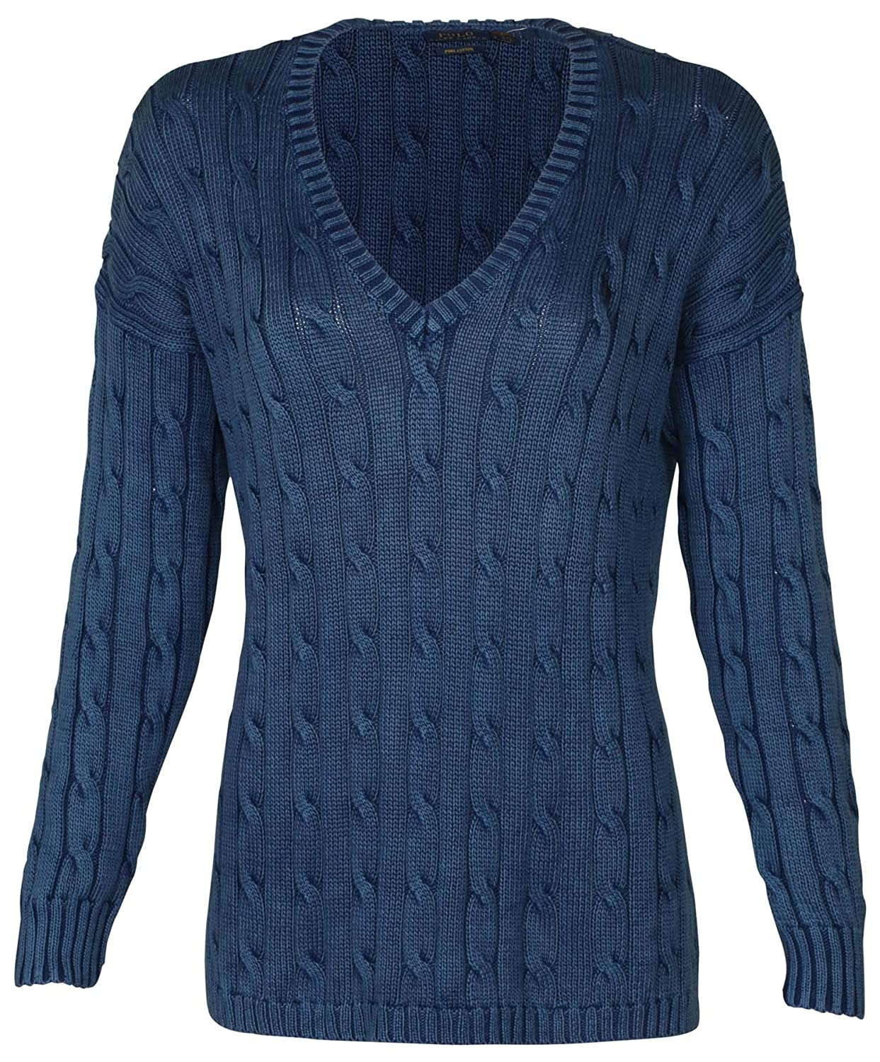 e3ca3efff7e Polo Ralph Lauren Womens Sweater Cable Knit Split Hem V Neck (M, Blue)