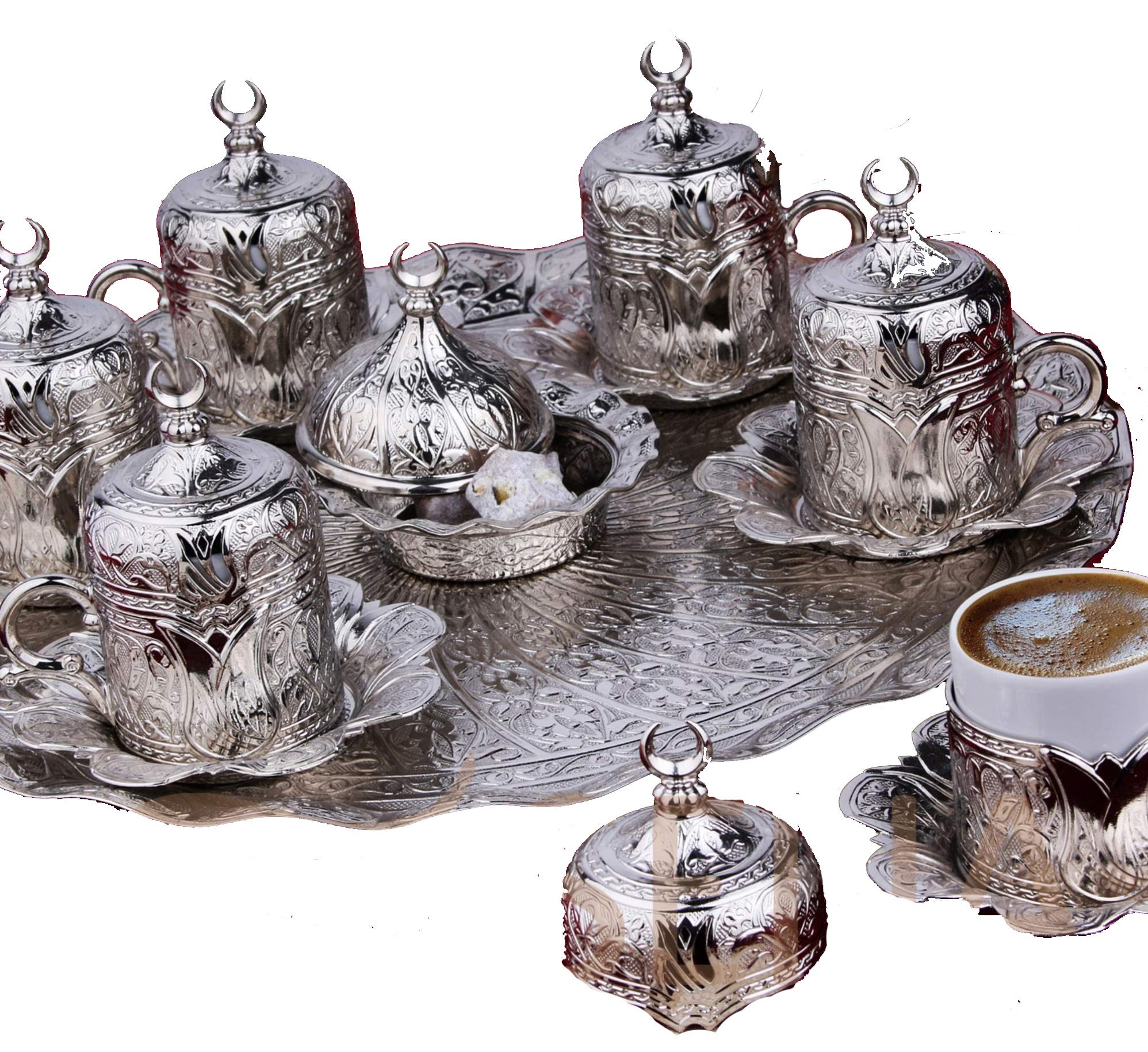 Gold Case Silver plated METAL Turkish, Arabic, Greek and Espresso Coffee Set for 6 - Made in Turkey - 27 pieced set with Bowl, Silver