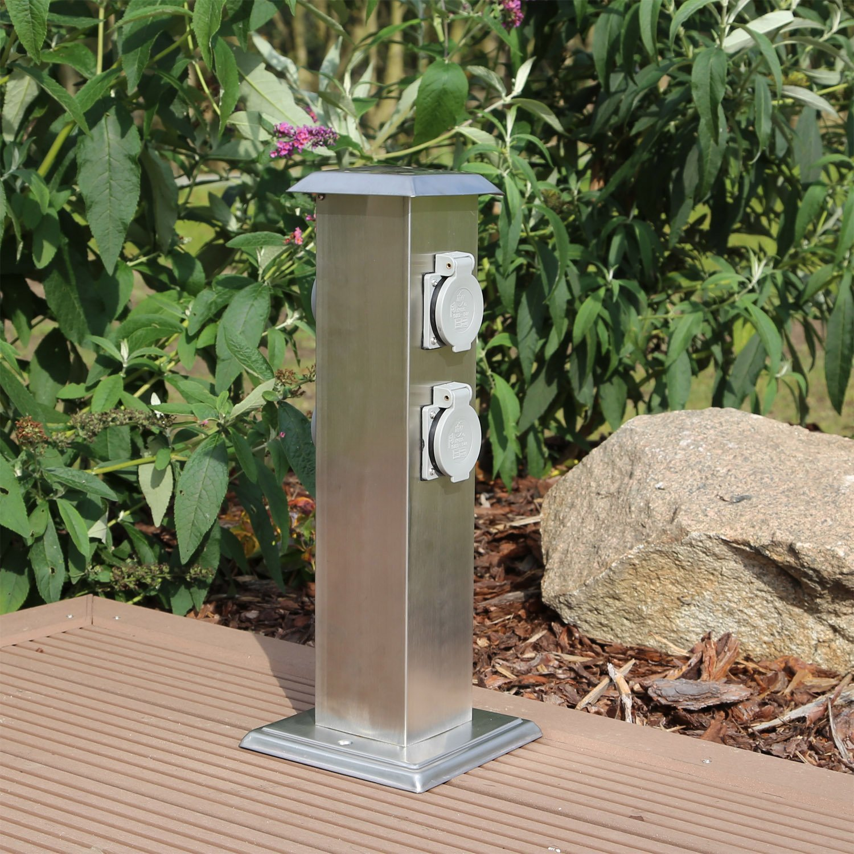 Großartig Edelstahl Steckdosensäule für den Garten 4 fach Energiesäule  EJ08